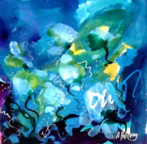 Abstract Blue Floral by Anya Holloway