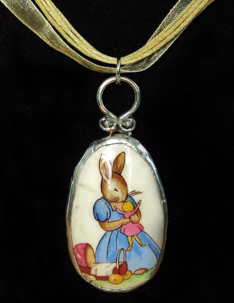 Upcycled Bunnykins necklace by Diane Redden