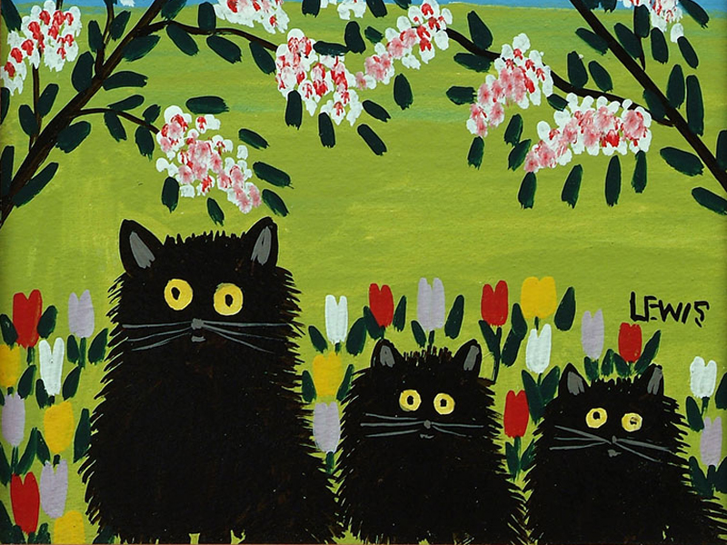 Three Black Cats 1955 by Maud Lewis. (c) Art Gallery of Nova Scotia. Used with permission.