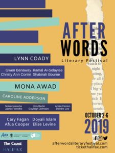 Official poster for the After Words Literary festival listing a selection of speakers.