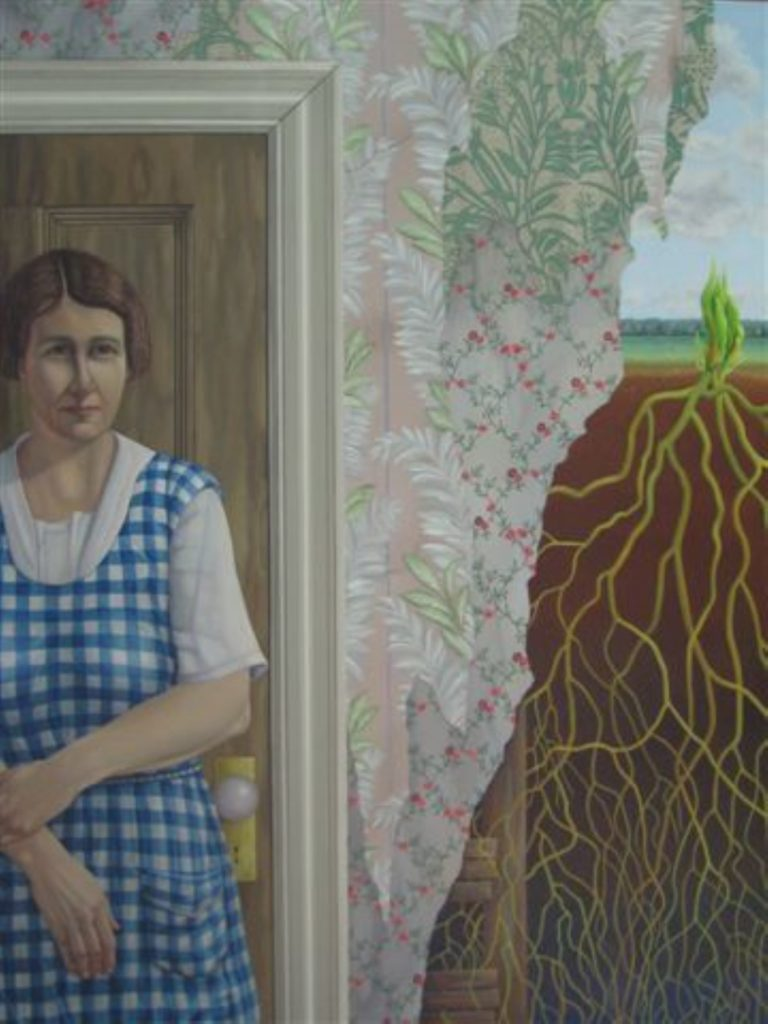 Painting by Brenda Whiteway showing a woman in a doorway, floral wallpaper, and the roots of a plant outside.