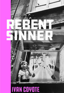 Book cover for Rebent Sinner showing a black-and-white photo of a child blowing bubbles through a window; an old-fashioned toboggan run is also seen through the window.)