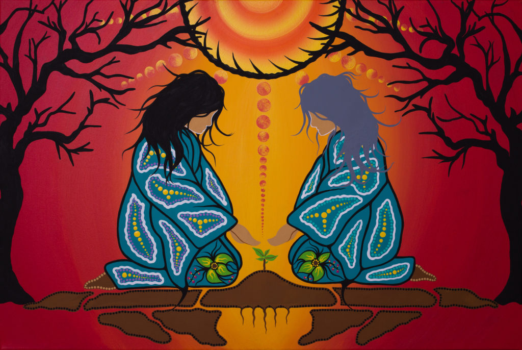 Painting by Tracey Metallic showing two Indigenous women kneeing in front of a small plant.