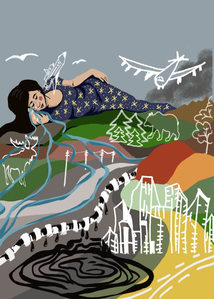 Painting by Ildiko Nova showing a woman crying a river, a city, mountains, airplane