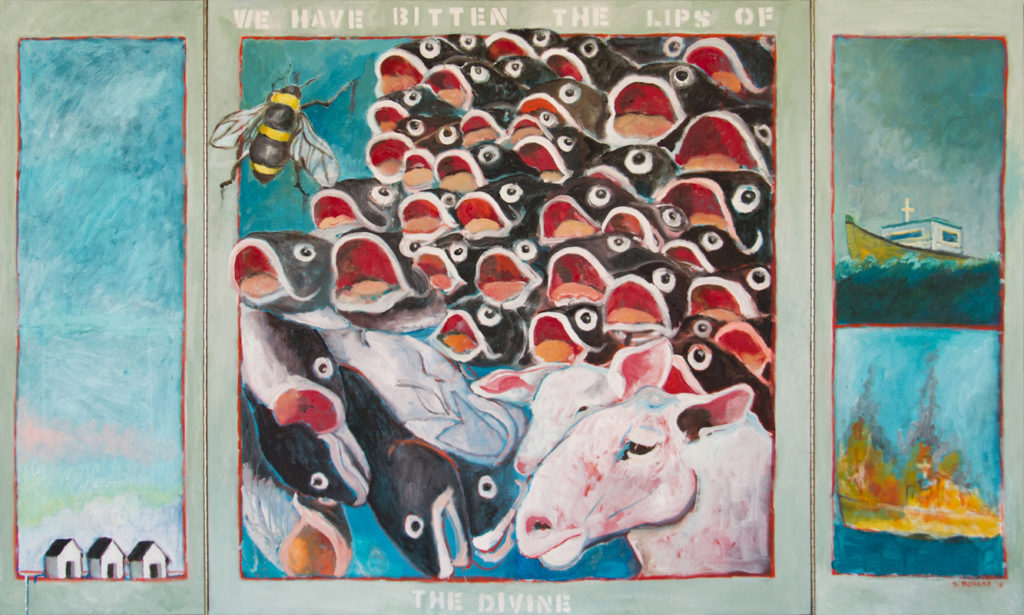 Painting by Su Rogers showing many fish, two cows, a bee and the ocean.