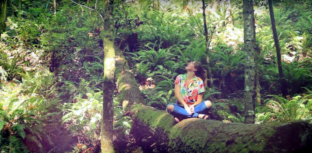 Photo showing a women sitting on a tree trunk in dense forest.