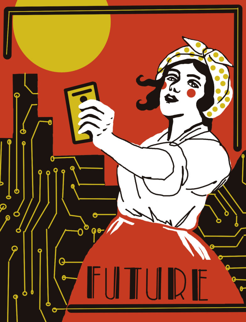 graphic image/poster showing woman holding electronic technology