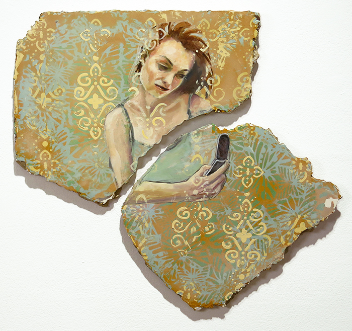 painting by Teri Donovan showing woman holding cellphone and decorative background