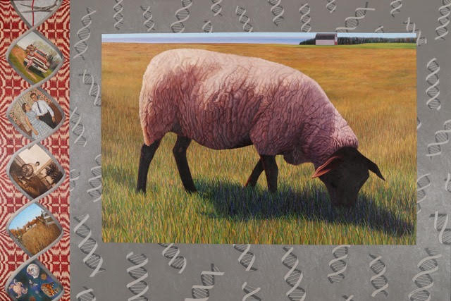 painting showing sheep with DNA strands and family photos