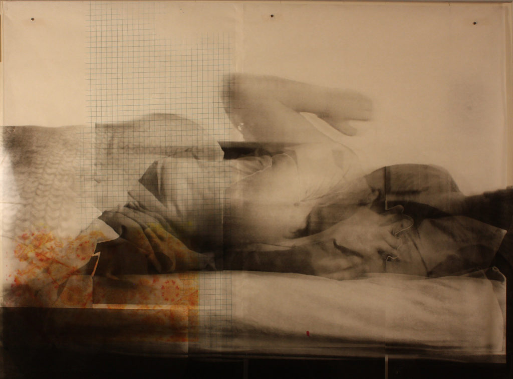 art by Heather Huston showing a figure half-rising from bed