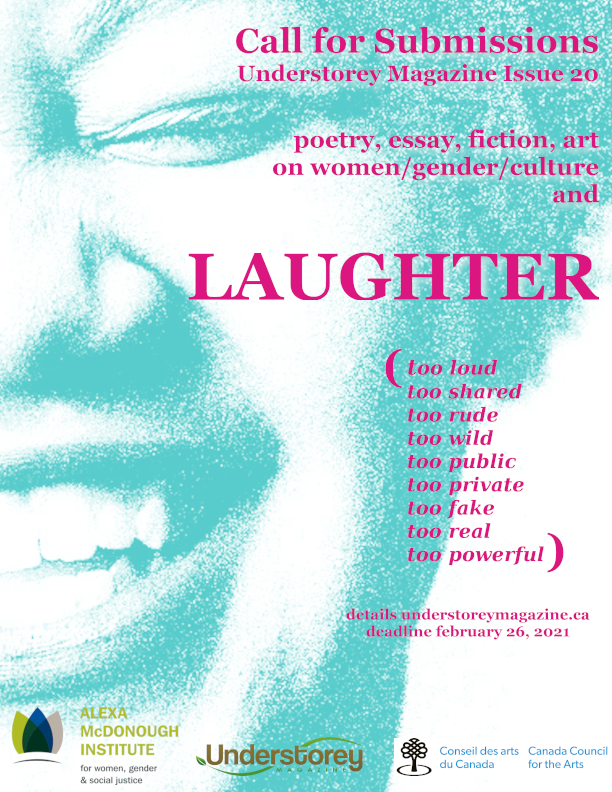 poster for issue 20 showing woman laughing (all information written as text above)