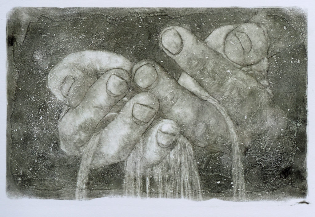 visual art (etching) showing sand running through hands