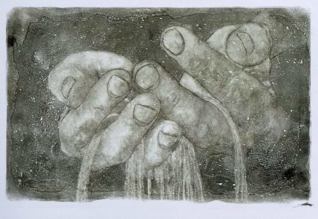visual art (etching) showing sand running through hands