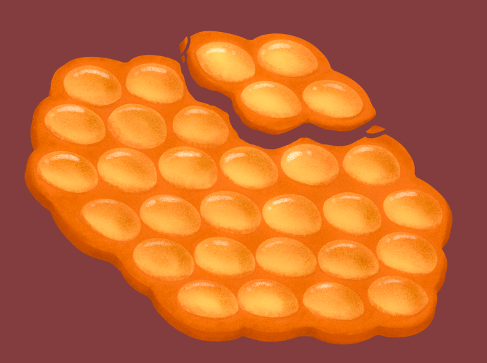digital illustration of a bubble waffle