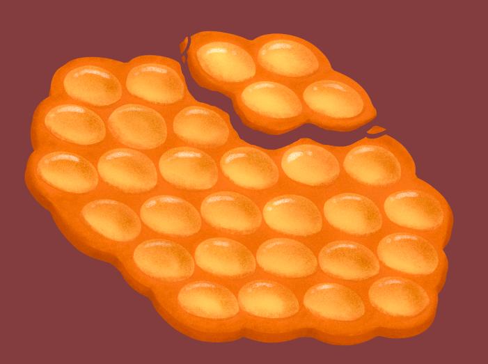digital illustration of a bubble waffle