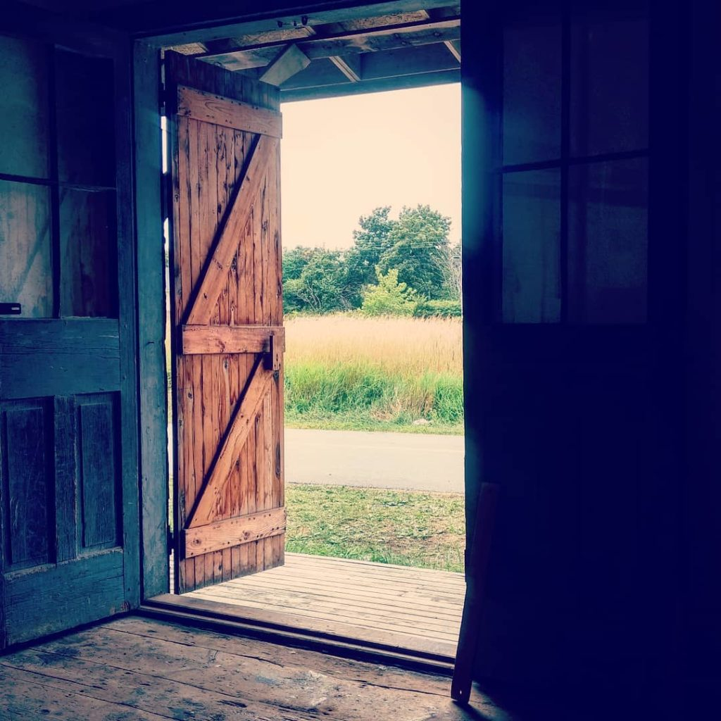photograph showing a rustic, barn door looking out to a field