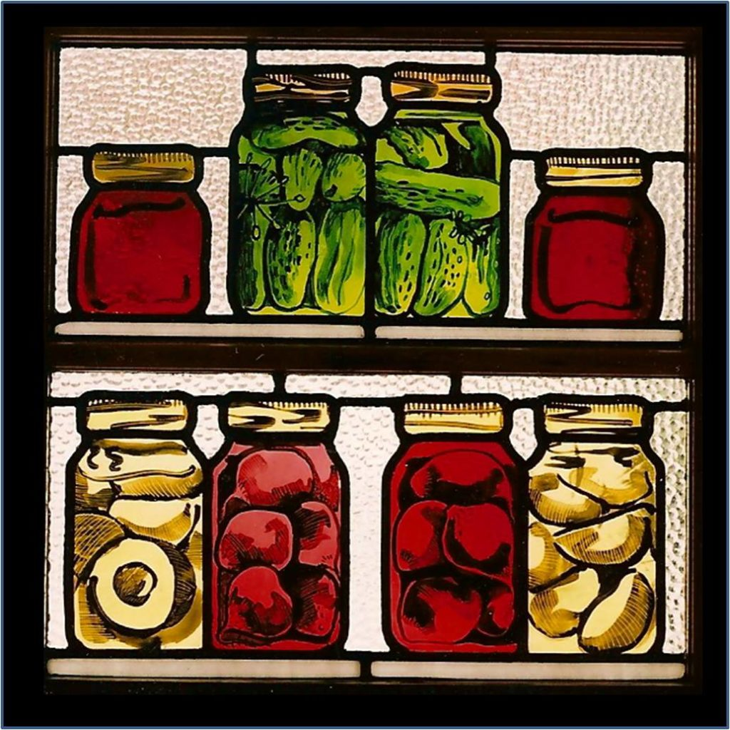 stained glass show jars of preserves