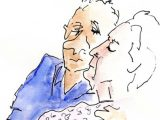 Illustration by Susan MacLeod showing an elderly woman and man. She has her eyes closed. Neither are smiling.