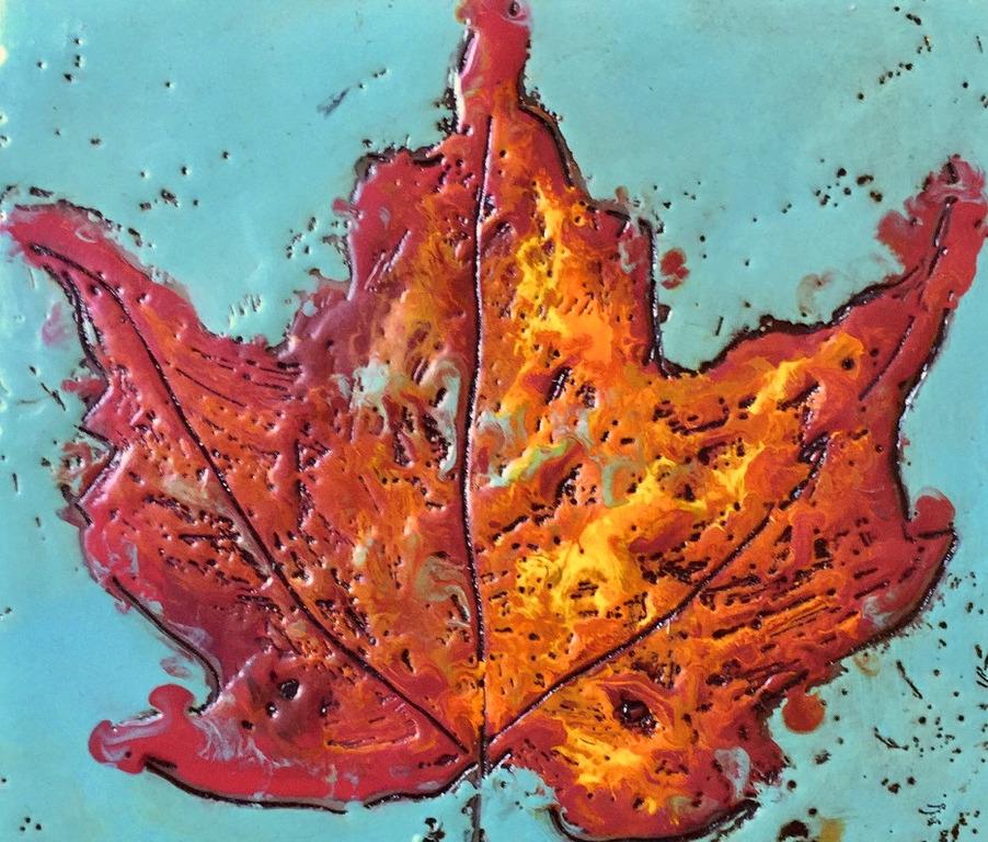 Encaustic by Lisa-Maj Roos showing a red maple leaf