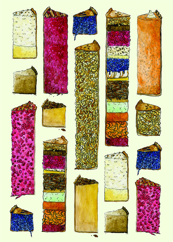 Illustration by Sarah Christie showing many kinds of pie