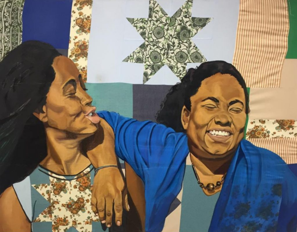 Art by Letitia Fraser showing two women laughing (oil on quilt)