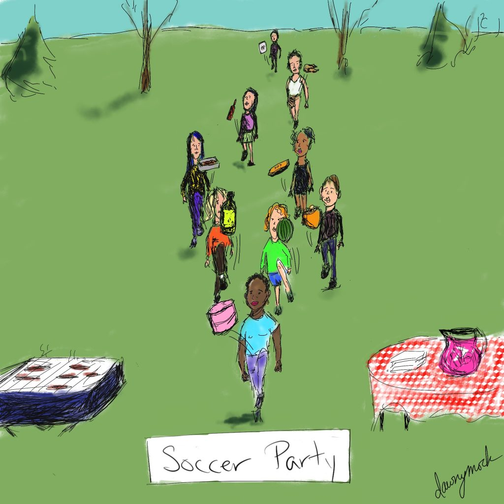 cartoon by Dawn Mockler showing women's soccer team attending an outdoor party and knee-bouncing the food