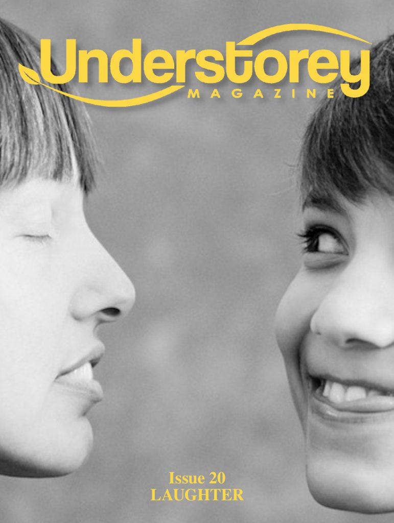 Cover for issue 20 showing photography by Heidi Jirotka. Two people face each other; one is making a funny face; the other looks to be receiving the laughter.
