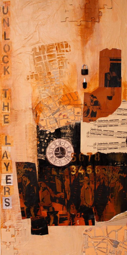 """Collage by Leah Dockrill titled """"Layers of Illusion"""" showing sheet music among other items."""