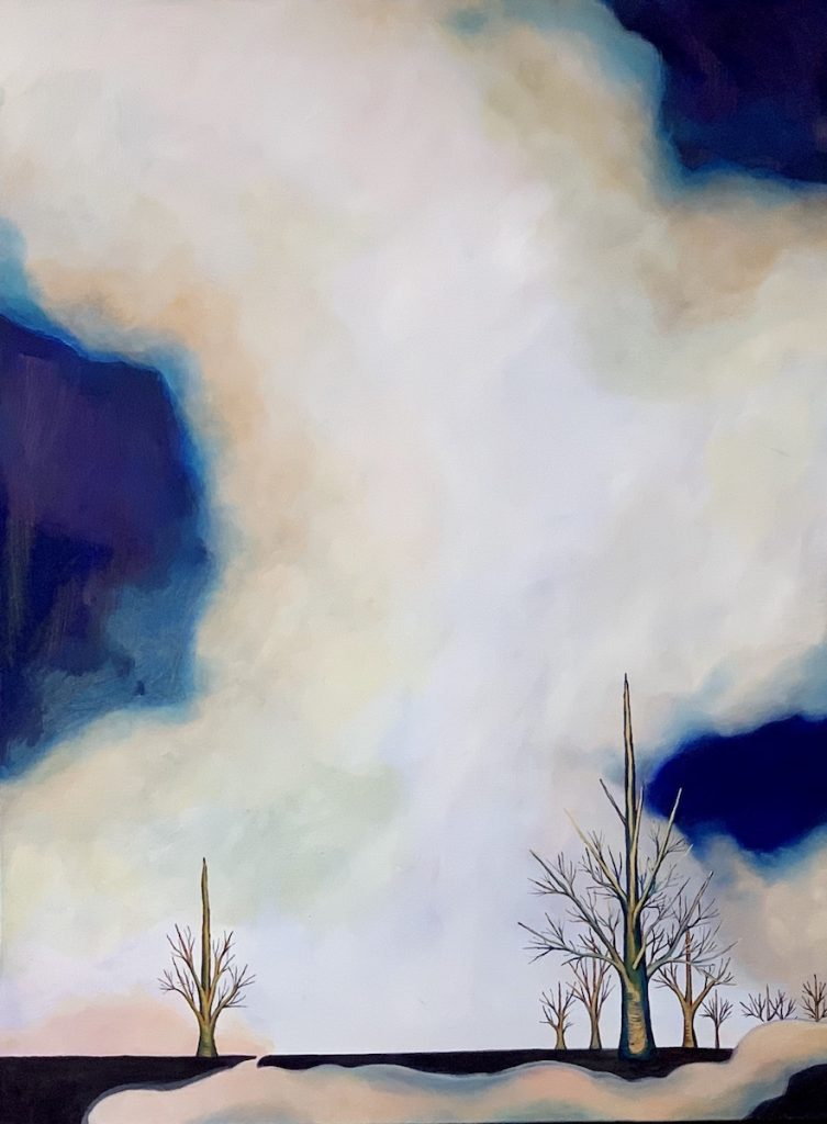Painting by Jacqueline Staikos showing a large sky and two stark, separated trees