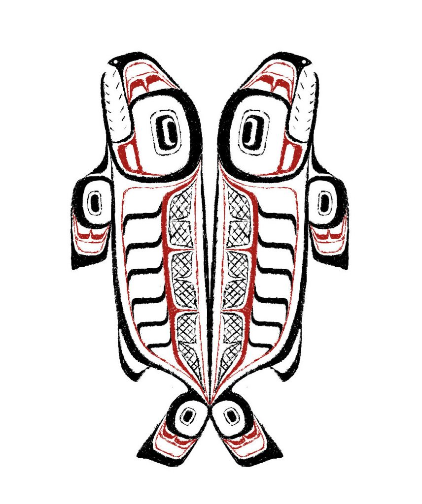 Indigenous art showing mirror images of a fish